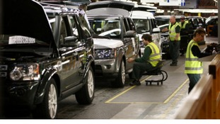 Land Rover models on the factory floor