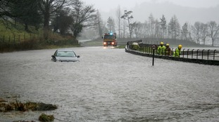 Flooding in Grasmere, Cumbria after 18 hours of heavy rain.
