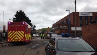 Firefighters remain at the scene in Hartlepool