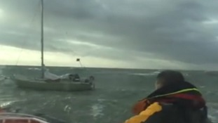 The Caister lifeboat goes to help the yacht Olivia off Great Yarmouth