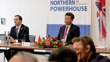 George Osborne (left) and the President of the People's Republic of China Mr Xi Jinping at the National Graphene Institute in Manchester
