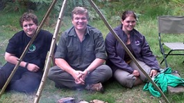 Rob Challinor, sister Kelly-Ann and Ray Mears
