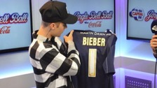 Justin Bieber with his Southend United shirt