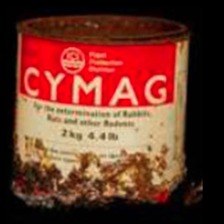 A tin of Cymag poison