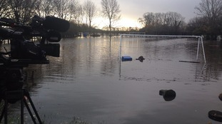 School playground flooded in Lancashire