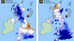 High levels of rainfall were seen in December 2013 and January 2014.