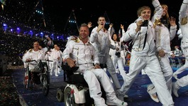 Lee Pearson (centre) and members of Great Britain's Paralympic Team make their way out during last night's Opening Ceremony