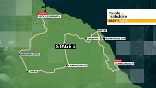 A map of the third stage of the tour de yorkshire