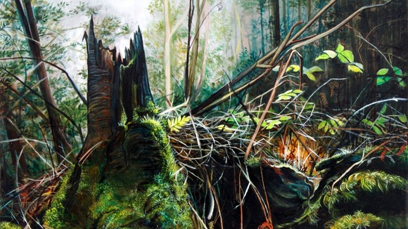 One of Georgia's Forest Floor paintings