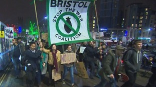 Hundreds march in Bristol to protest Syria bombing