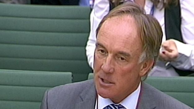Tom Crone appears before the Commons Culture, Media and Sport committee probe into phone hacking in 2011.
