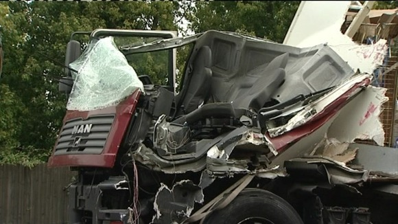 One of the crashed trucks