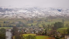 Snow on  the moors above Burnsall