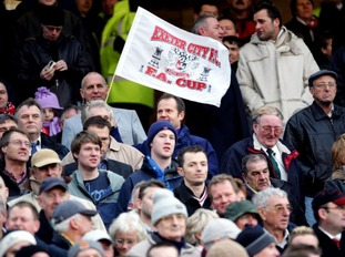 Exeter fans at Old Trafford in 2005