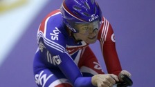 Sarah Storey from Manchester has posted the record time in her qualifying heat of the individual pursuit.