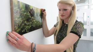 Georgia Dodson with one of her paintings