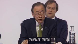 UN secretary-general Ban Ki-moon addresses the conference.