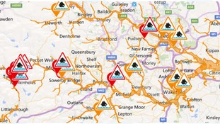 Flood warnings in West Yorkshire