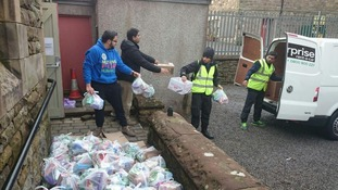 The volunteers helped flood victims.
