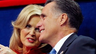 Mitt Romney talks with his wife Ann during the 2012 Republican National Convention