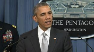 Barack Obama gives a briefing at the Pentagon.