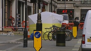 Forensics tent in Hanover Square