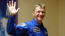 Tim Peake waves a final goodbye ahead of his mission