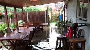 Flooding at The Royal Oak in Long Bennington in August