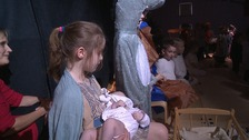 Year two student plays Mary with real baby in school nativity.