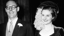 Margaret and Dennis Thatcher at their wedding in 1951.