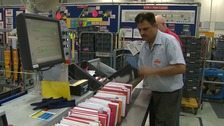 Busy day at the Royal Mail sorting office in Peterborough.