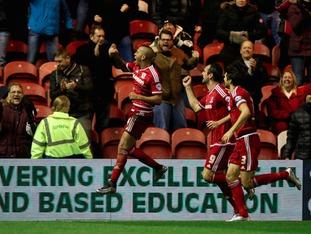 Emilio Nsue celebrates scoring the only goal of the game