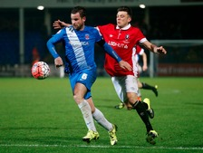 Hartlepool United's Matthew Bates (left) and Salford City's Gary Stopforth battle for the ball