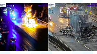 CCTV stills from the Highways Agency show the blaze before and after