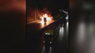 Dramatic footage captures explosions aboard burning M62 lorry