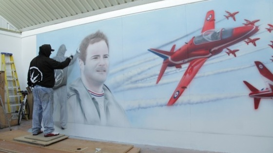 Large-scale mural commemorating Flight Lieutenant Jon Egging