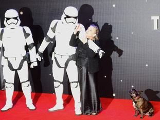 Carrie Fisher holds back a stormtrooper pointing at her dog.