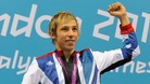 Jonathan Fox celebrates after winning gold in the Men's 100m Backstroke.