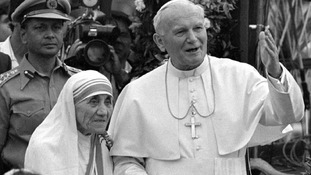 Mother Teresa with Pope John Paul II,  after visiting the Casa del Cuore Puro, Mother Teresa's home for the destitute and dying in the eastern Indian city of Kolkata