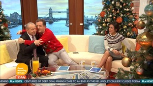 Piers Morgan and Alan Sugar hug it out on Good Morning Britain
