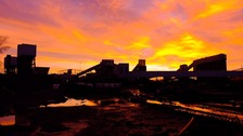 Sunrise at Kellingley Colliery this morning