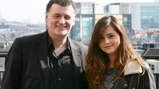 Jenna-Louise Coleman with Steven Moffat, Head writer and Executive Producer of Doctor Who