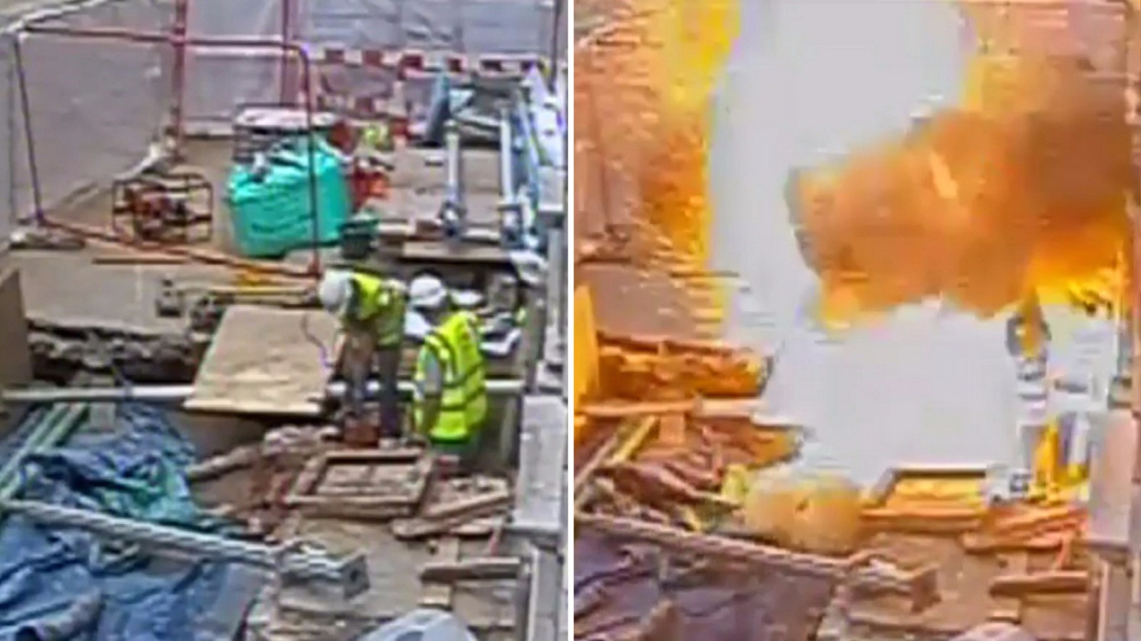 footage shows huge blast after construction workers