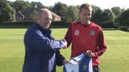 Blackburn&#x27;s manager Steve Kean with new striker Jordan Rhodes.