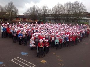 The children of Tewkesbury CofE Primary School celebrate Text Santa.