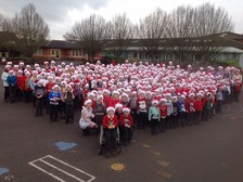 The children of Tewkesbury CofE Primary School celebrate Text Santa.