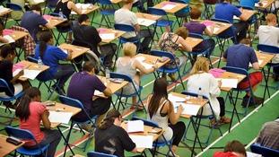 Students sitting a GCSE exam