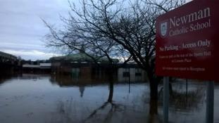 Newman School when it was flooded