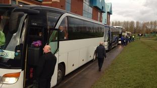 Buses leaving Brunton Park on Saturday morning