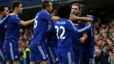 Chelsea players celebrate Branislav Ivanovic's early opening goal